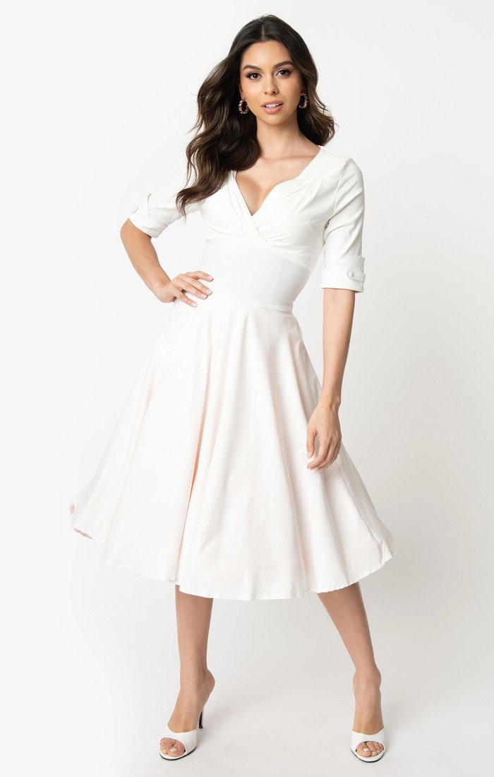 Ivory 1950's Vintage Inspired Swing Dress