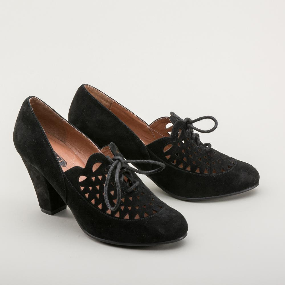 Vintage Inspired Suede Reproduction 1940's Retro Shoes-Alice - Blanche's Place