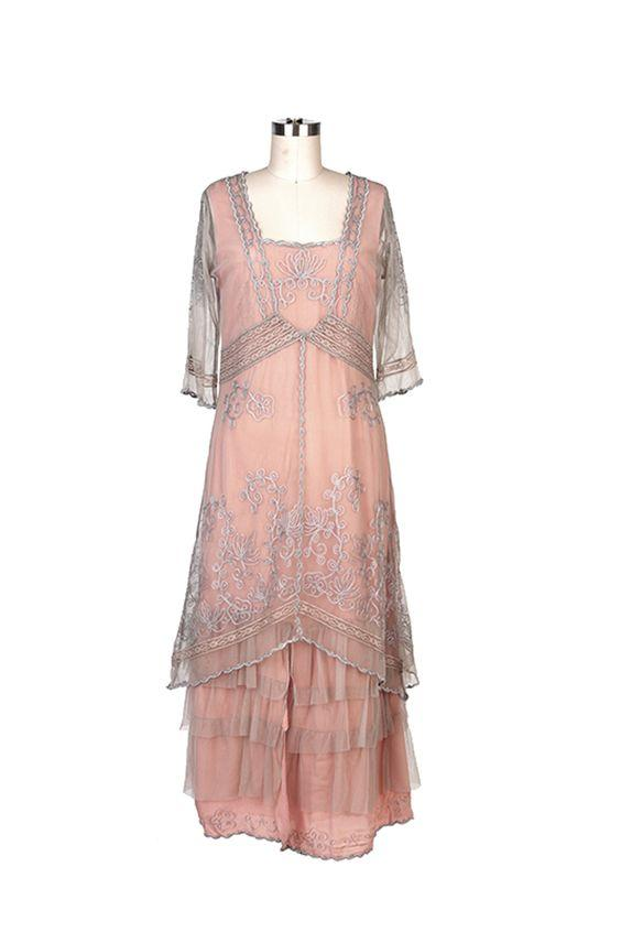Nataya Vintage Inspired Dress in Antique Pink-On Sale!