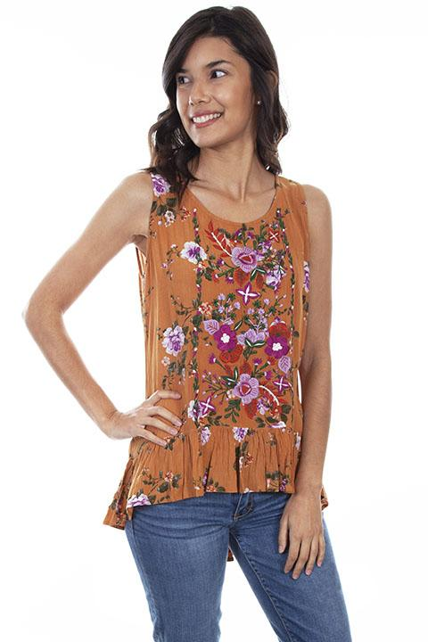 Honey Creek Hi Lo Blouse with Floral Designs-HC603 - Blanche's Place