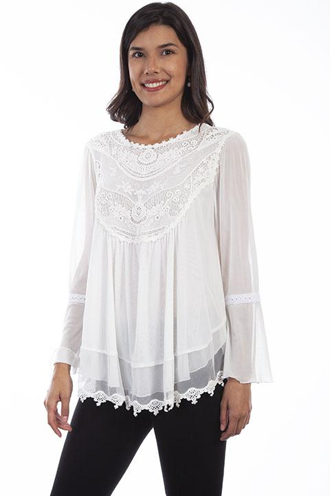 Victorian Inspired White Lace Tunic Blouse by Honey Creek-HC611 - Blanche's Place