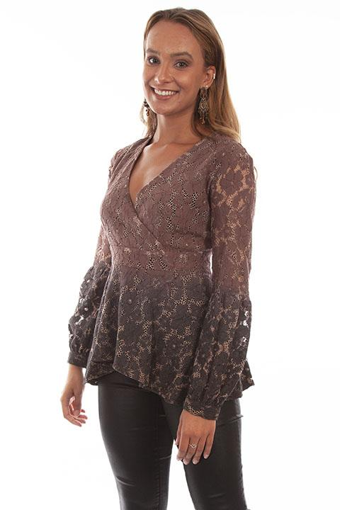 Gorgeous Romantic HiLo Two Color Lace Blouse by Honey Creek-HC613 - Blanche's Place