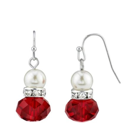 Downton Abbey Ruby and Pearl Vintage Earrings- - Blanche's Place
