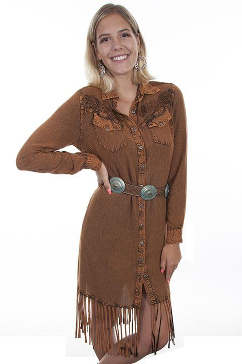 Honey Creek Long Sleeved Fringed Western Dress -HC485 - Blanche's Place