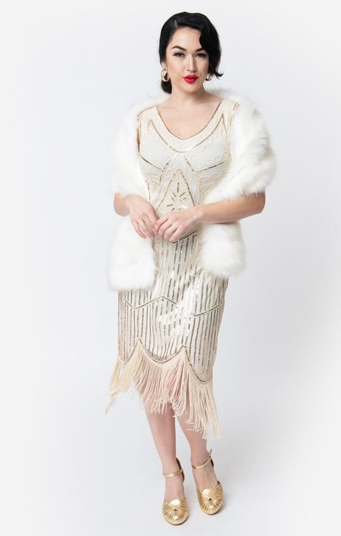 1920's  Great Gatsby Beaded Flapper Dress-Leonie - Blanche's Place