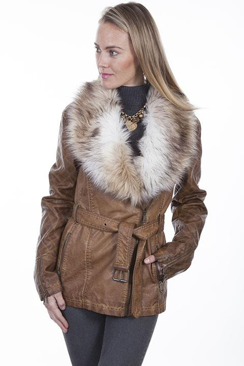 Ladies Western Jacket with Luxurious Faux Fur Collar-8029 - Blanche's Place