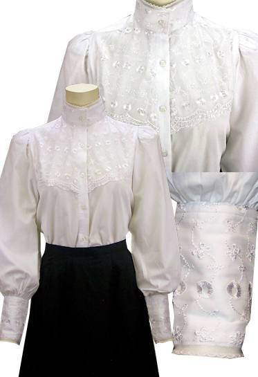 Ladies Victorian Blouse With Eyelet Lace-CL443 - shop-blanches-place