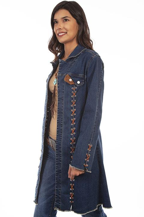Ladies Honey Creek Lace Up Long Western Fashion Duster-HC640