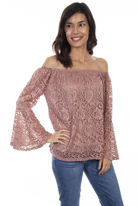 Ladies Mauve Lace Blouse With Bell Sleeves from Honey Creek-HC593 - Blanche's Place