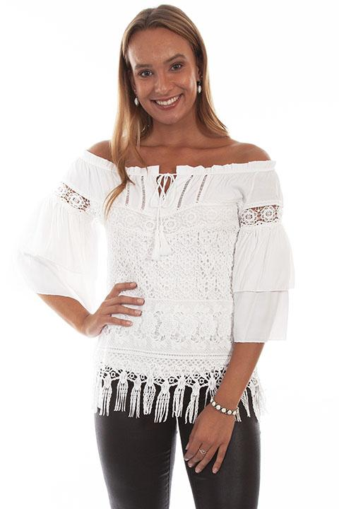 Ladies White Crochet Lace Blouse by Honey Creek-HC574 - Blanche's Place