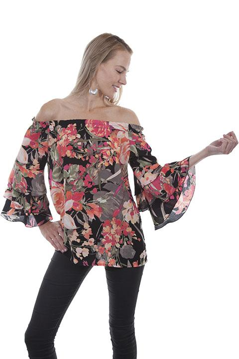 Ladies Off Sholder Western Floral Blouse-HC437 - Blanche's Place