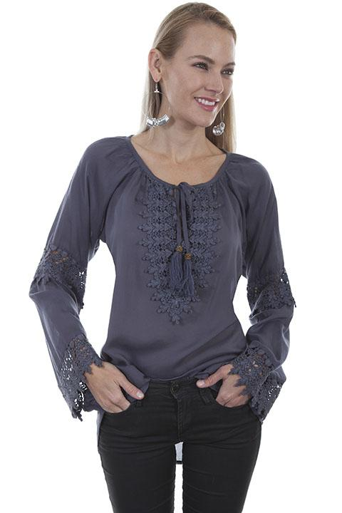 Western Chic Embroidered Blouse-HC421 - Blanche's Place