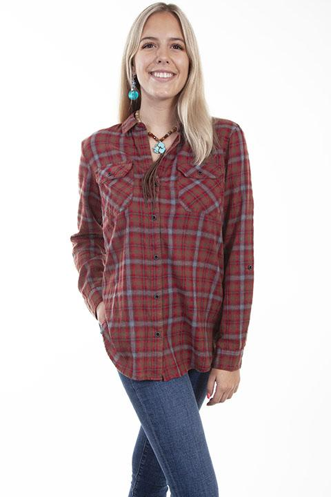 Ladies Casual Western Plaid Shirt by Honey Creek-HC617 - Blanche's Place