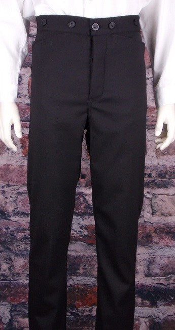 Men's Black Victorian Dress Pants-Black Size 44 On Sale