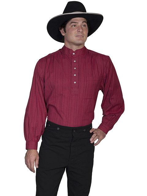 Mens Old West Frontier Cotton Pull Over Shirt with Tombstone Collar-RW015 - Blanche's Place