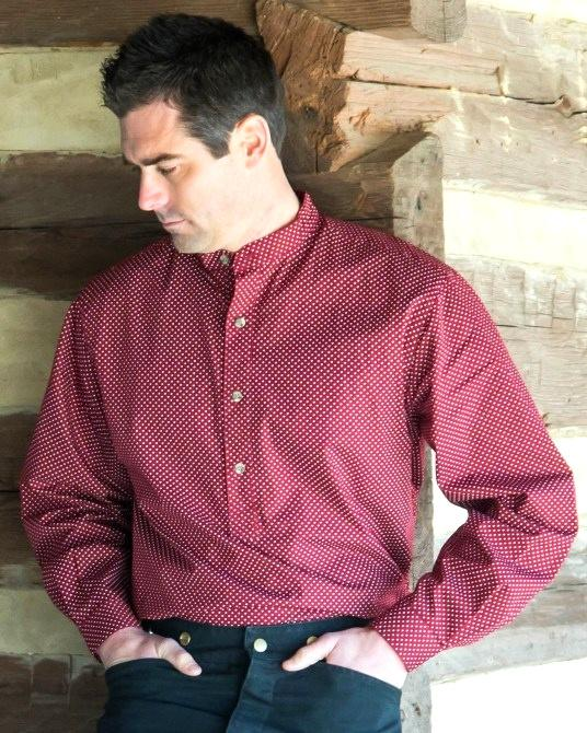 Mens Old West Victorian Authentic Style Placket Pull Over Shirt-CM5374 - Blanche's Place
