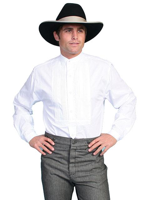Mens Old West Tuxedo Front Gambler Shirt with Banded Collar-RM032 - Blanche's Place