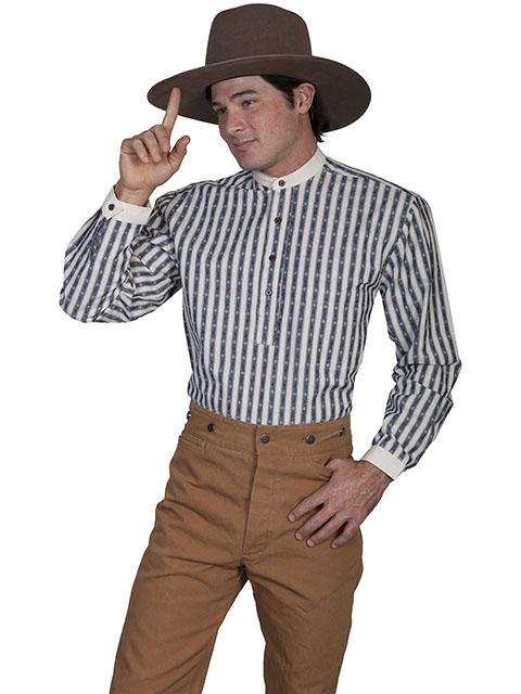 Mens Banded Collar Striped Old West Shirt-RW101 - Blanche's Place