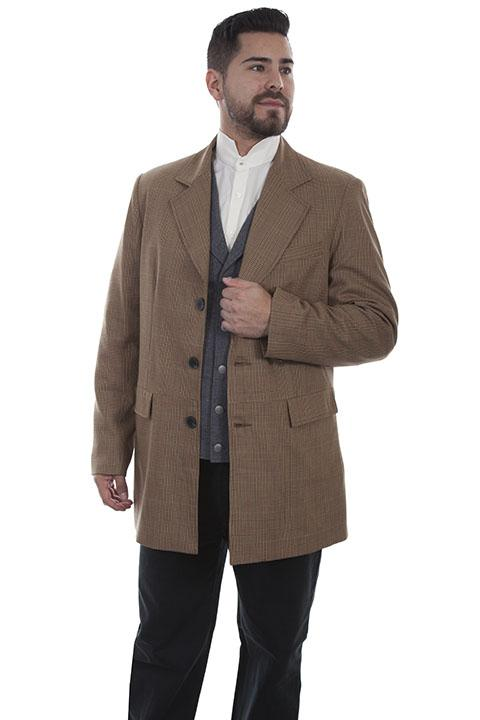 Men's Wahmaker Old West Tan Plaid Town Coat-541689 - Blanche's Place