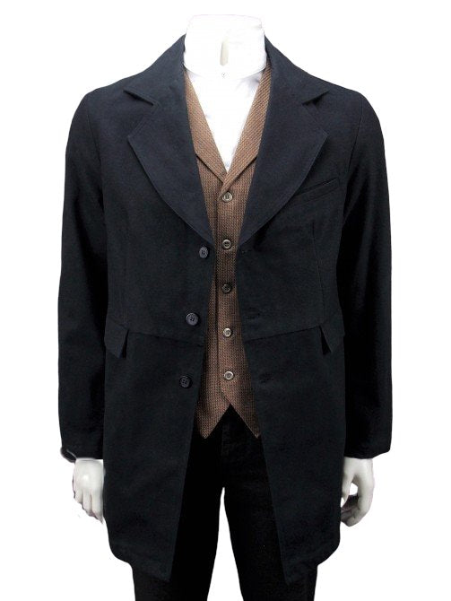 Mens black frontier classics old west gunfighter coat