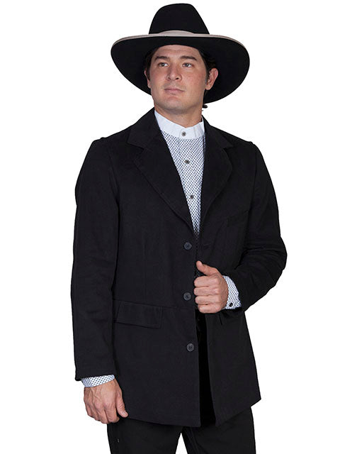 Mens Old West Victorian Black Cotton Town Coat