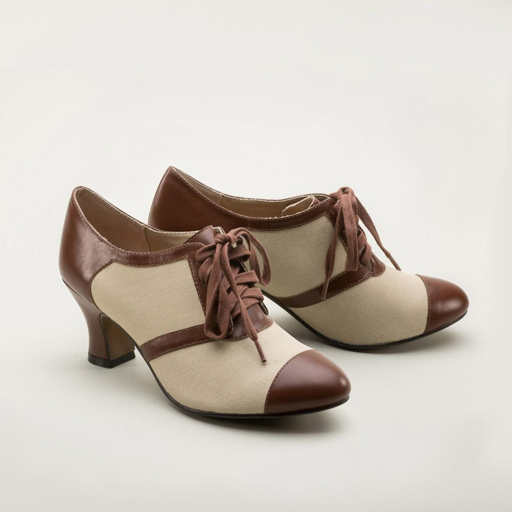Ladies Vintage Inspired Retro Oxford Shoes-Evelyn - Blanche's Place