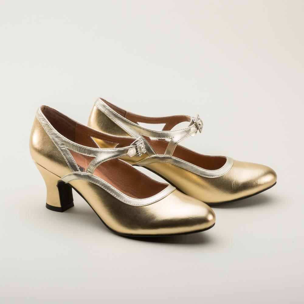 Dazzling 1920's Vintage Inspired Shoes in Metallic Gold or Silver-Roxy - Blanche's Place