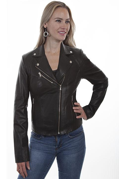Ladies Scully Black Leather Motorcycle Jacket L1001 - Blanche's Place
