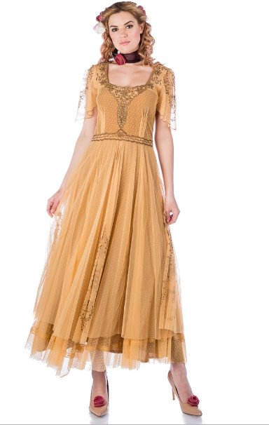 Bewitching Nataya Vintage Inspired Black/Gold Alice Dress-40815 - Blanche's Place