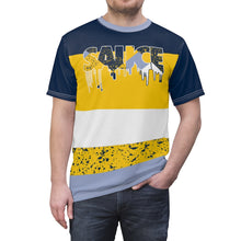 Load image into Gallery viewer, mens jordan 5 michigan yellow amarillo sneaker match colorblock sauce cut sew t shirt