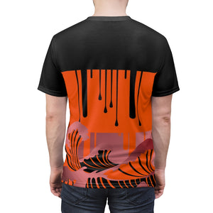 hyper crimson foamposite pro sneaker match colorblock drip too hard cut sew t shirt
