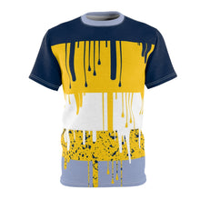 Load image into Gallery viewer, mens jordan 5 michigan yellow amarillo sneaker match colorblock cut sew t shirt the drip