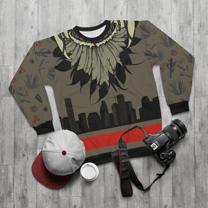 polyester blend all over print sweatshirt to match jordan 6 travis scott cactus jack olive cactus scene feathered v2