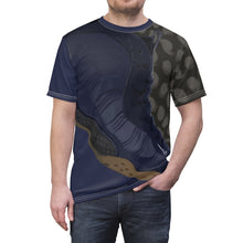 Load image into Gallery viewer, custom navy foamposite macro print cut sew t shirt