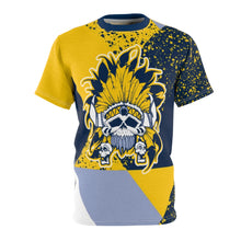 Load image into Gallery viewer, mens jordan 5 michigan yellow amarillo sneaker match colorblock sole chief cut sew t shirt