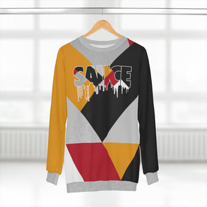 polyester blend all over print sweatshirt to match jordan 7 reflections of a champion colorblock sauce