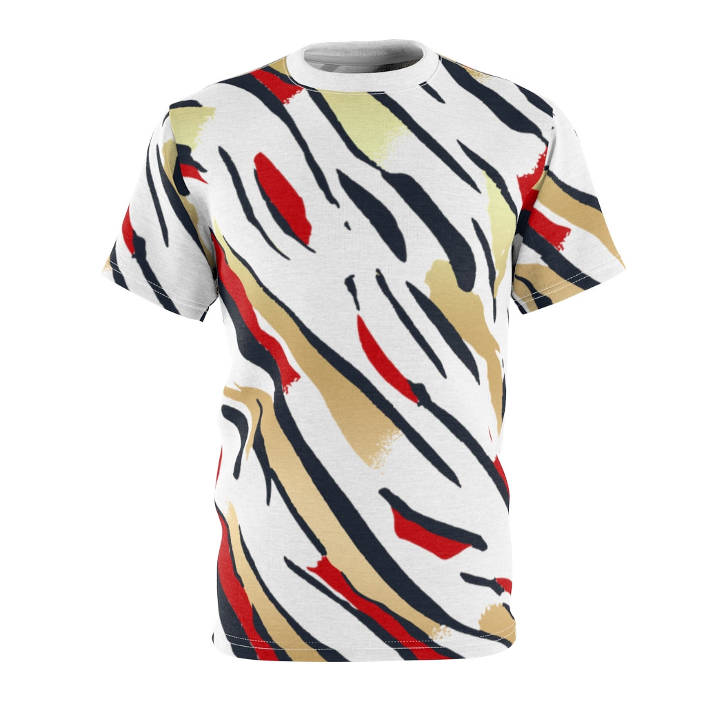 olympic colorway all over print cut sew shirt