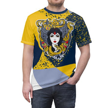 Load image into Gallery viewer, mens jordan 5 michigan yellow amarillo sneaker match colorblock medusa cut sew t shirt