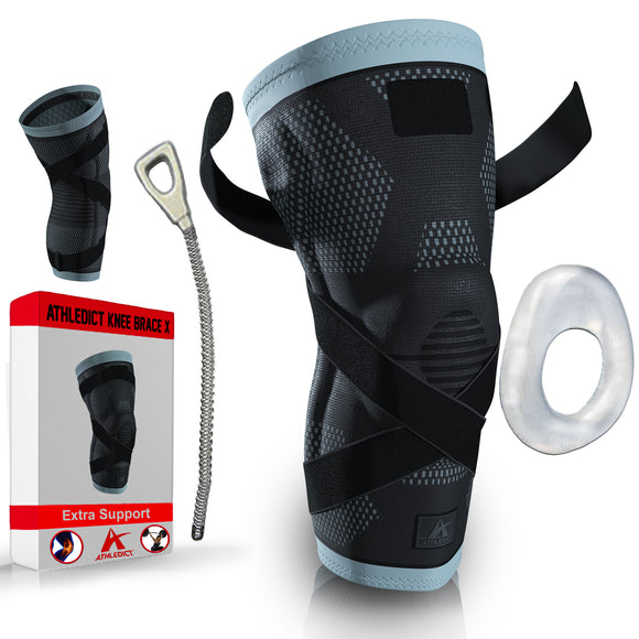 Knee Compression Sleeve with X-Strap 2.0 (Extra Support Added)