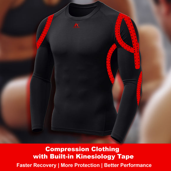 Compression Longsleeve Shirt with Built-in Kinesiology Tape - Performance and Protection