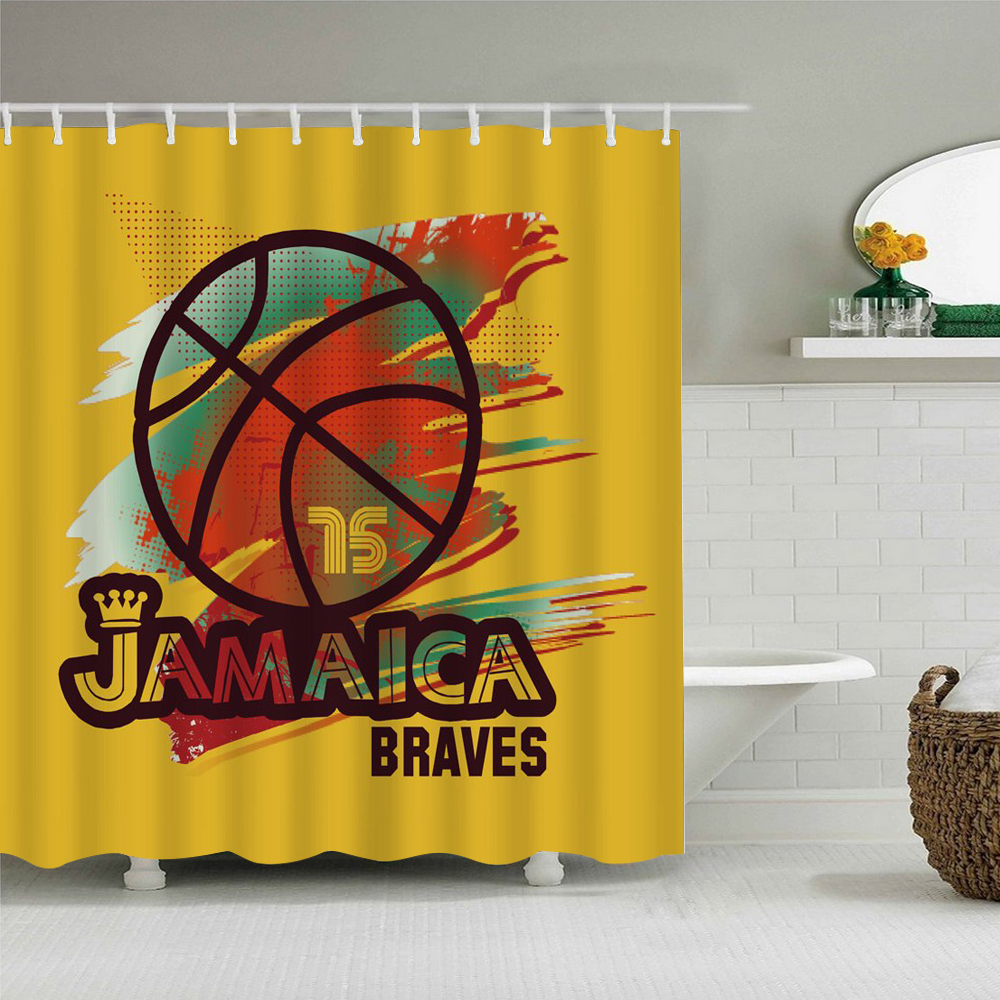 180180 3d Print Sport Shower Curtain AA 002