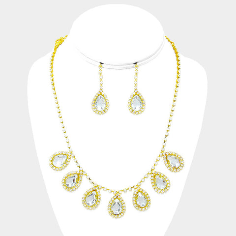 Crystal Rhinestone Teardrop Station Necklace