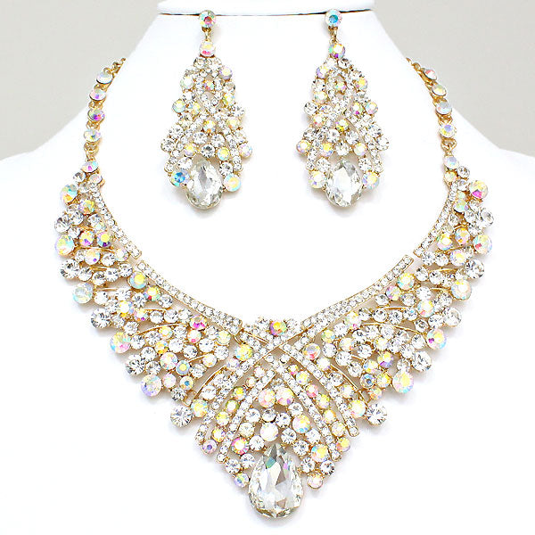 Clear AB Teardrop Statement Necklace Set