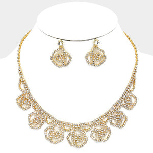 Clear Crystal Rhinestone Gold Rose Collar Necklace