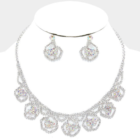 AB Crystal Rhinestone Rose Collar Necklace