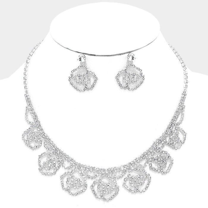 Clear Crystal Rhinestone Rose Collar Necklace