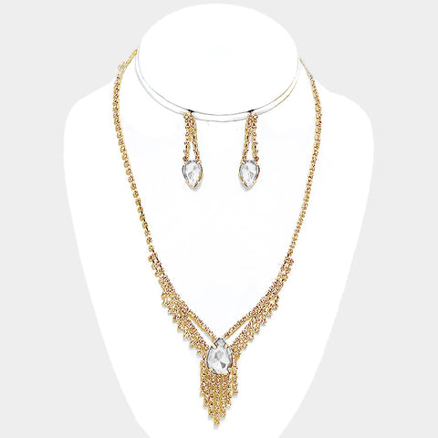 Clear Crystal Rhinestone Gold Fringe Necklace Set