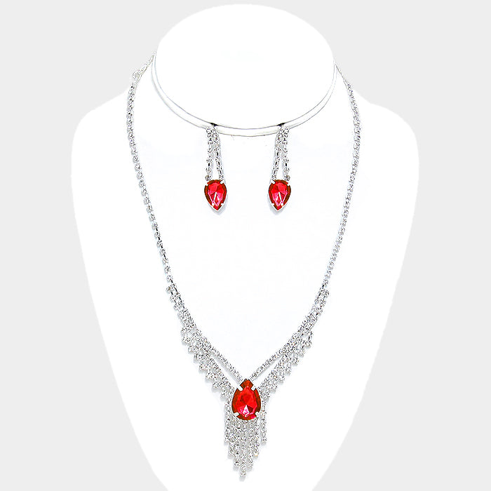 Red Crystal Rhinestone Fringe Necklace Set