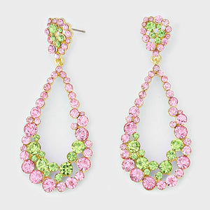 Pink Green Teardrop Cut Out Rhinestone Evening Earrings