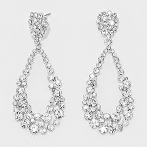 Clear Silver Teardrop Cut Out Rhinestone Evening Earrings